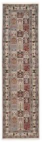 Moud Sherkat Farsh Rug 80X300 Authentic Oriental Handknotted Hallway Runner Light Grey/Beige (Wool/Silk, Persia/Iran)