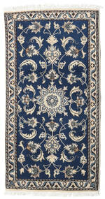 Nain Rug 68X132 Authentic  Oriental Handknotted Dark Blue/Dark Grey/Light Grey (Wool, Persia/Iran)