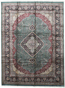 Kashmir Art. Silk Rug 274X368 Authentic Oriental Handknotted Light Grey/Dark Grey Large ( India)