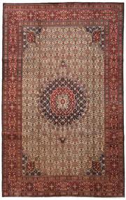 Moud Rug 201X321 Authentic  Oriental Handknotted Dark Brown/Dark Red (Wool/Silk, Persia/Iran)