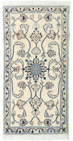 Nain Rug 68X139 Authentic  Oriental Handknotted Beige/Light Grey (Wool, Persia/Iran)