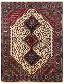 Yalameh Rug 155X198 Authentic  Oriental Handknotted Dark Red/Black (Wool, Persia/Iran)