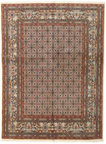 Moud Rug 150X196 Authentic  Oriental Handknotted Light Brown/Dark Brown (Wool/Silk, Persia/Iran)