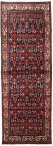 Hamadan Rug 106X298 Authentic  Oriental Handknotted Hallway Runner  Dark Red/Dark Brown (Wool, Persia/Iran)