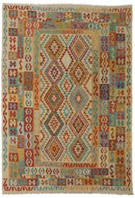 Kilim Afghan Old Style Rug 206X295 Authentic  Oriental Handwoven Dark Red/Light Brown (Wool, Afghanistan)