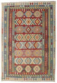 Kilim Afghan Old Style Rug 200X296 Authentic  Oriental Handwoven Dark Red/Light Grey (Wool, Afghanistan)