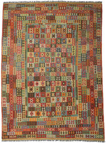 Kilim Afghan Old Style Rug 296X406 Authentic  Oriental Handwoven Dark Brown/Olive Green Large (Wool, Afghanistan)