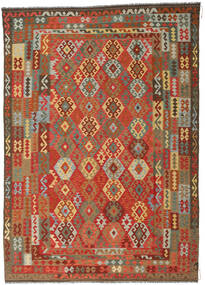 Kilim Afghan Old Style Rug 246X349 Authentic Oriental Handwoven Rust Red/Dark Grey (Wool, Afghanistan)