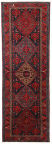 Hamadan Rug 104X309 Authentic  Oriental Handknotted Hallway Runner  Dark Red/Black (Wool, Persia/Iran)