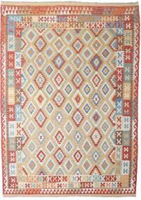 Kilim Afghan Old Style Rug 206X294 Authentic Oriental Handwoven Light Grey/Dark Red (Wool, Afghanistan)