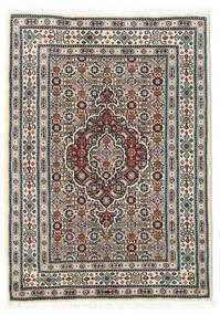 Moud Rug 60X85 Authentic Oriental Handknotted Beige/Light Grey/Dark Brown (Wool/Silk, Persia/Iran)