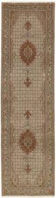Tabriz 50 Raj Rug 81X301 Authentic  Oriental Handwoven Hallway Runner  Light Brown/Light Grey (Wool/Silk, Persia/Iran)