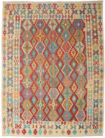 Kilim Afghan Old Style Rug 261X342 Authentic  Oriental Handwoven Dark Red/Light Brown Large (Wool, Afghanistan)