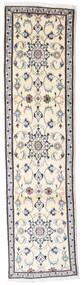 Nain Rug 77X298 Authentic Oriental Handknotted Hallway Runner Beige/Light Grey/White/Creme (Wool, Persia/Iran)