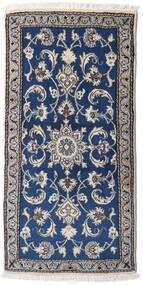 Nain Rug 69X137 Authentic  Oriental Handknotted Light Grey/Dark Blue (Wool, Persia/Iran)