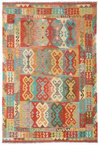 Kilim Afghan Old Style Rug 204X300 Authentic Oriental Handwoven Dark Beige/Crimson Red (Wool, Afghanistan)