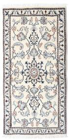 Nain Rug 65X136 Authentic  Oriental Handknotted Beige/Light Grey (Wool, Persia/Iran)