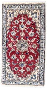Nain Rug 68X129 Authentic  Oriental Handknotted Beige/Dark Red (Wool, Persia/Iran)
