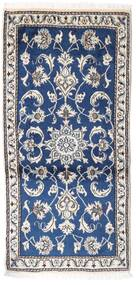 Nain Rug 70X135 Authentic  Oriental Handknotted Light Grey/Dark Blue (Wool, Persia/Iran)