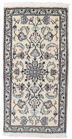Nain Rug 70X140 Authentic  Oriental Handknotted Light Grey/Black (Wool, Persia/Iran)