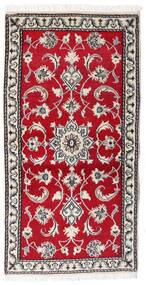 Nain Rug 70X139 Authentic  Oriental Handknotted Crimson Red/Light Grey (Wool, Persia/Iran)
