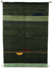 Gabbeh Indo Rug 139X202 Authentic Modern Handknotted Dark Green (Wool, India)