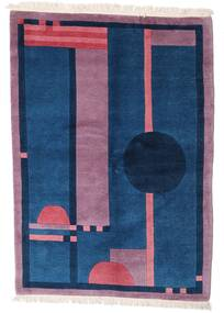 Himalaya Rug 140X197 Authentic  Modern Handknotted Dark Blue/Pink (Wool, India)