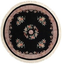 China 90 Line Rug Ø 244 Authentic Oriental Handknotted Round Black/Light Grey (Wool, China)