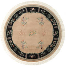 China 90 Line Rug Ø 244 Authentic Oriental Handknotted Round Light Brown/Beige (Wool, China)