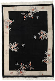 China 90 Line Rug 213X305 Authentic Oriental Handknotted Black/Light Grey (Wool, China)