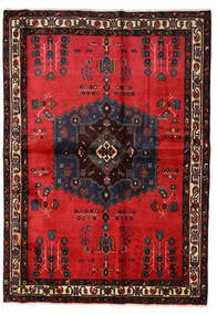 Afshar Rug 160X227 Authentic  Oriental Handknotted Black/Crimson Red (Wool, Persia/Iran)