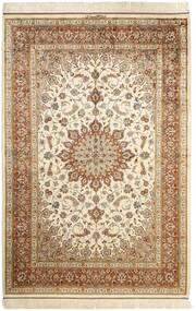 Qum Silk Rug 130X197 Authentic  Oriental Handknotted Beige/Brown (Silk, Persia/Iran)