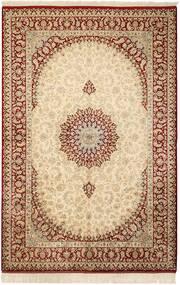 Qum Silk Rug 132X201 Authentic  Oriental Handknotted Beige/Light Brown (Silk, Persia/Iran)