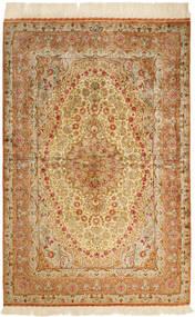 Qum Silk Rug 102X152 Authentic  Oriental Handknotted Brown/Dark Beige/Beige (Silk, Persia/Iran)