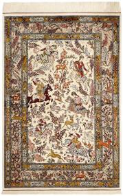 Qum Silk Rug 98X148 Authentic  Oriental Handknotted Beige/Brown (Silk, Persia/Iran)