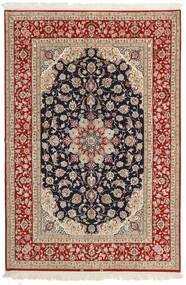 Isfahan Silk Warp Rug 161X236 Authentic  Oriental Handwoven Light Brown/Dark Red (Wool/Silk, Persia/Iran)