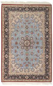 Isfahan Silk Warp Rug 159X246 Authentic  Oriental Handwoven Light Grey/Dark Brown (Wool/Silk, Persia/Iran)