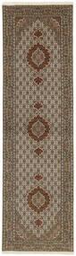 Tabriz 50 Raj Rug 83X302 Authentic  Oriental Handwoven Hallway Runner  Light Grey/Dark Brown/Brown (Wool/Silk, Persia/Iran)
