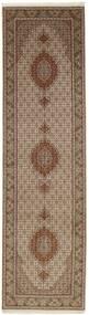 Tabriz 50 Raj Rug 82X310 Authentic  Oriental Handknotted Hallway Runner  Brown/Light Grey (Wool/Silk, Persia/Iran)