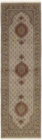 Tabriz 50 Raj Rug 80X292 Authentic  Oriental Handknotted Hallway Runner  Light Grey/Brown (Wool/Silk, Persia/Iran)