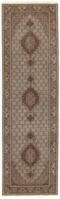 Tabriz 50 Raj Rug 81X294 Authentic  Oriental Handknotted Hallway Runner  Brown/Dark Brown/Light Grey (Wool/Silk, Persia/Iran)