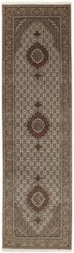 Tabriz 50 Raj Rug 82X298 Authentic  Oriental Handknotted Hallway Runner  Dark Brown/Light Grey (Wool/Silk, Persia/Iran)
