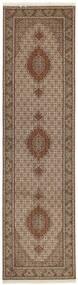 Tabriz 50 Raj Rug 81X308 Authentic  Oriental Handknotted Hallway Runner  Brown/Light Grey (Wool/Silk, Persia/Iran)