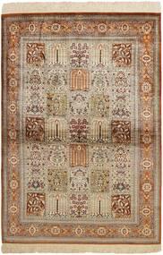 Qum Silk Rug 102X150 Authentic  Oriental Handwoven Brown/Light Grey (Silk, Persia/Iran)