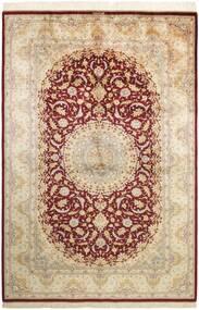 Qum Silk Rug 155X235 Authentic  Oriental Handknotted Beige/Dark Beige (Silk, Persia/Iran)