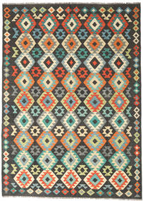 Kilim Afghan Old Style Rug 177X247 Authentic Oriental Handwoven Black/Light Grey (Wool, Afghanistan)