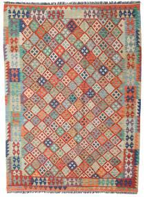 Kilim Afghan Old Style Rug 180X247 Authentic  Oriental Handwoven Dark Red/Light Grey (Wool, Afghanistan)