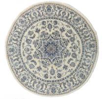 Nain Rug Ø 200 Authentic  Oriental Handknotted Round Dark Beige/Dark Grey/Light Grey (Wool, Persia/Iran)