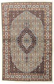 Moud Rug 97X150 Authentic  Oriental Handknotted Light Grey/Dark Red (Wool/Silk, Persia/Iran)