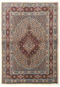 Moud Rug 100X142 Authentic  Oriental Handknotted Light Grey/Dark Brown (Wool/Silk, Persia/Iran)